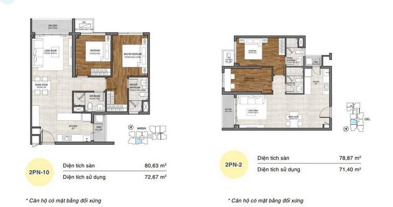Thiết kế điển hình căn hộ 2 phòng ngủ tại One Verandah