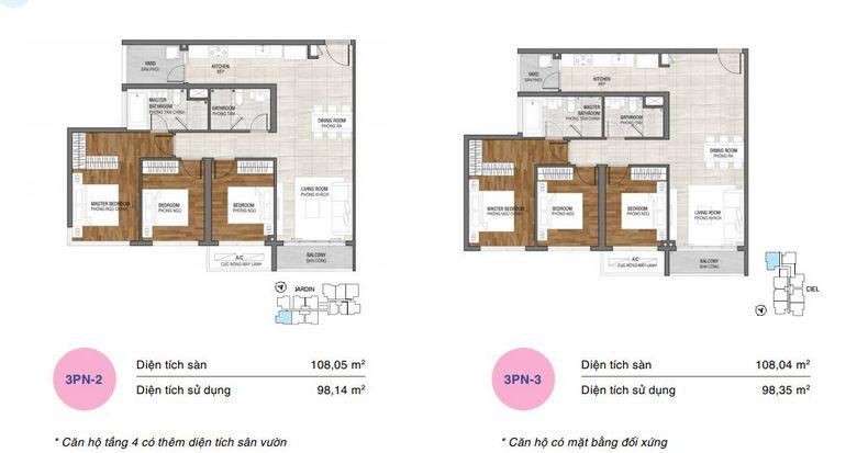 Thiết kế điển hình căn hộ 3 phòng ngủ tại dự án One Verandah