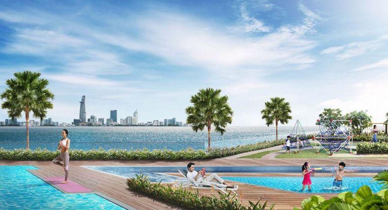 Hồ bơi phức hợp tại tầng 3 là nơi thư giản của khách hàng tại One Verandah